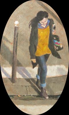 """Mehrzad Najand - peinture acrylique  sur toile oval - """" Jeune fille traversant """" -  12cm x 20cm - 2016"""