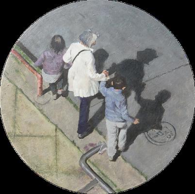 "Mehrzad Najand - peinture acrylique sur toile - ""Promenade"" -diamètre 20cm - 2016"