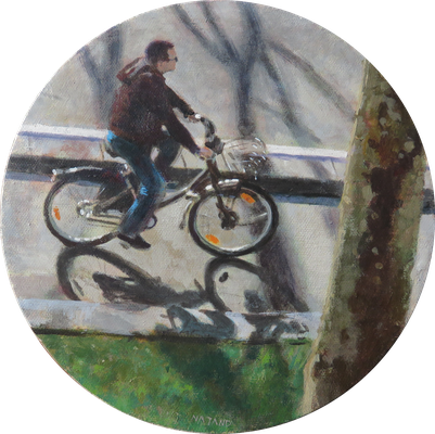 """Mehrzad Najand - peinture acrylique sur toile - """"A bicyclette """" - diamètre 20cm - 2016"""