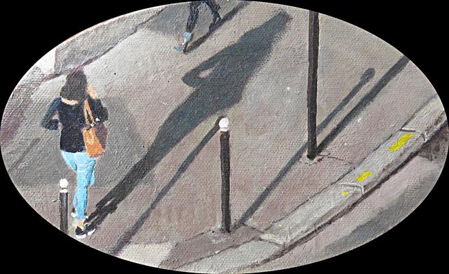 """Mehrzad Najand - peinture acrylique  sur toile ovale-  """" traversée """"-  20cm x 12cm - 2016"""