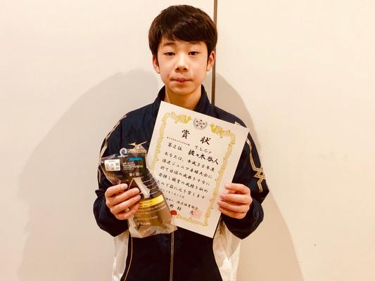 中学生以下男子(単)準優勝:佐々木選手(T.L.C.jr)