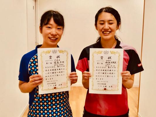 女子複優勝:西谷選手(BEANS)・安島選手(卓愛会)