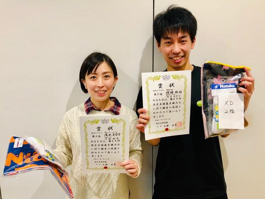 混合複準優勝:河端選手(BEANS)・清水選手(あじさいパール)