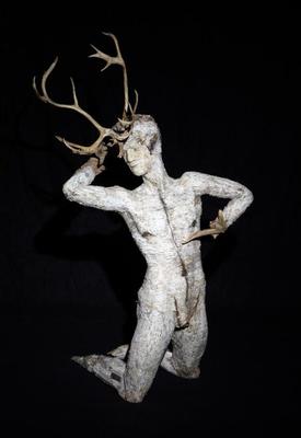 Friedrich Schreiber Der Gespiele XXV 2015 Holz, Birkenrinde, Geweih 170 x 100 x 90 cm