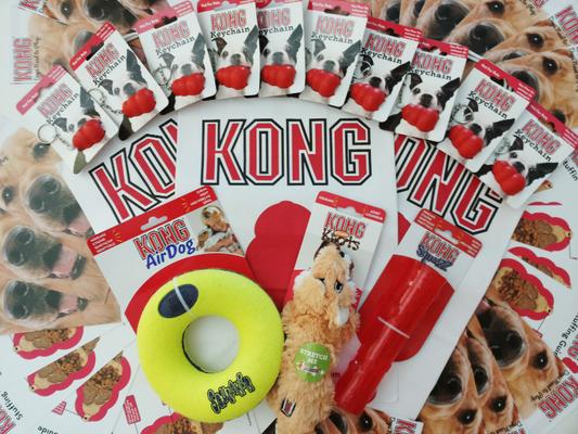 i prodotti e i gadget donati dalla KONG