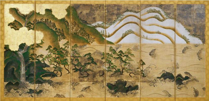 日月山水図屏風(天野山金剛寺重要文化財)左隻
