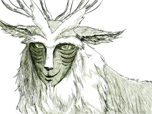 『もののけ姫』のシシ神様線画。顔立ちだけで脅威を感じる。
