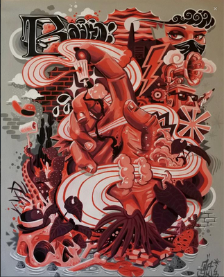 50 / 65CM  Acrylique spray sur toile  name: la main rouge - 350 €