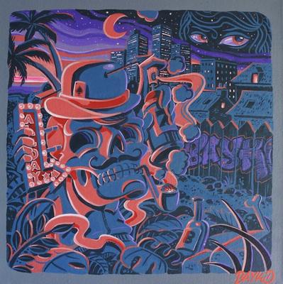30/30 cm Acrylique spray sur toile  name : phono skull prix  - 150€
