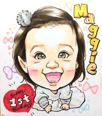 娘の1歳の誕生日似顔絵/成長記録似顔絵