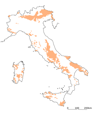 イタリアの石灰岩の地域(イタリア洞穴学学会の資料より筆者作成)