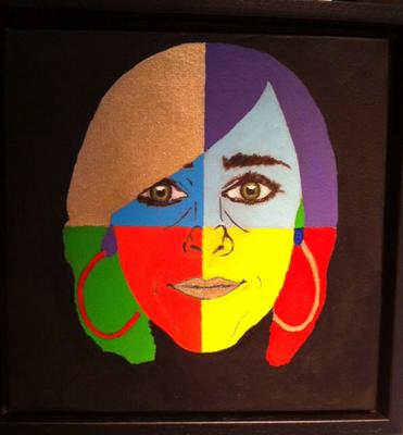 Zelfportret: acrylverf