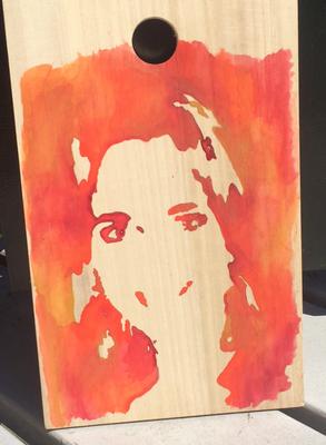 Portret op hout I: aquarelverf, beukenhout