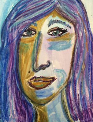 Meisje: aquarelkrijt, aquarelverf, papier