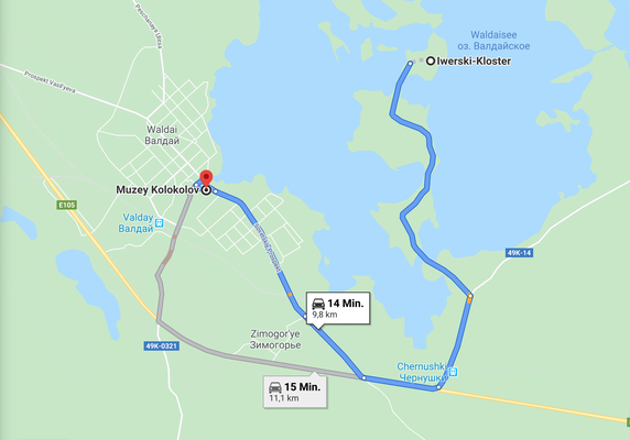 Route zwischen Glockenmuseum und Iwerksi Kloster in Waldai