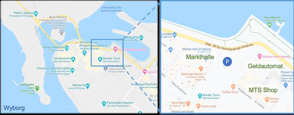 Vyborg - Stadtplan