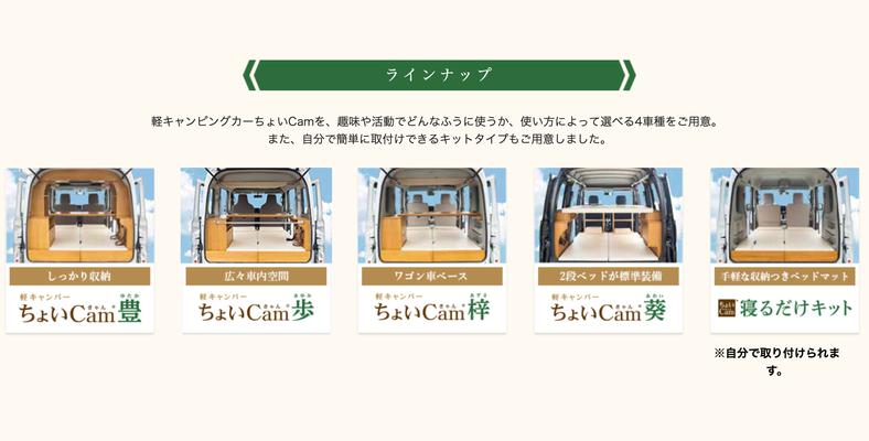 Odaiba Campingcar Fair 2019 - Modelle von Choi Cam - Screenshot Webseite