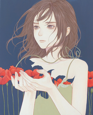 「散る花」 220x273mm キャンバスにアクリル Acrylic on Canvas