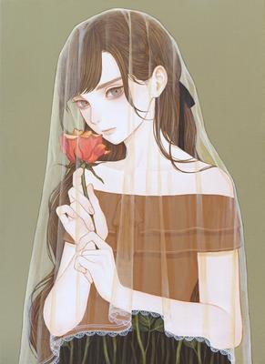 「秘め事」 242x333mm キャンバスにアクリル Acrylic on Canvas
