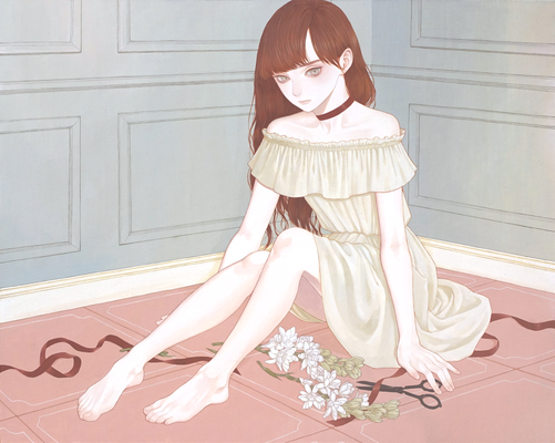 「片隅の花」 910x727mm キャンバスにアクリル Acrylic on Canvas