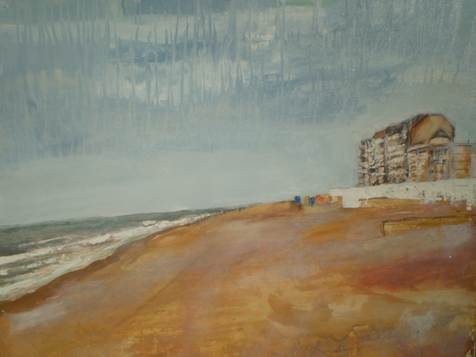 Knokke Alberstrand. 80x63 mixed media on coton on hardboard. PRIVATELY OWNED