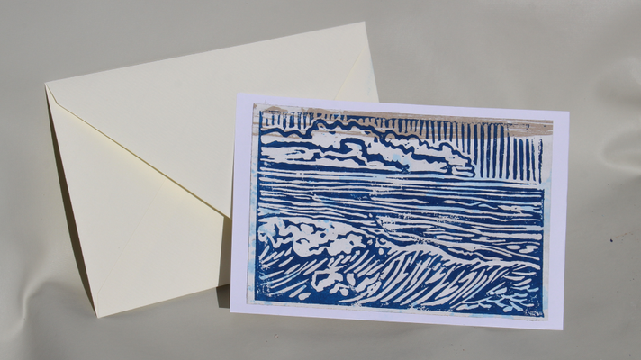Carte postale, Welle - Wolken, linocut print on industrial paper
