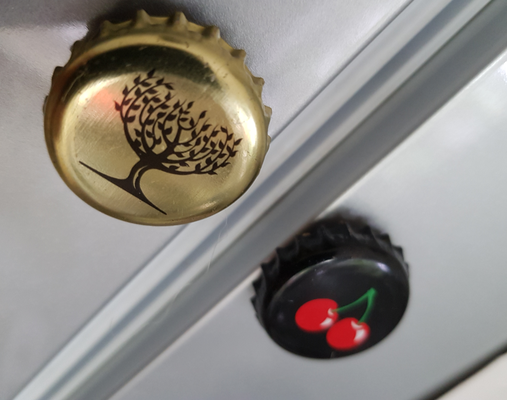 Fridge magnets, bottle caps, cork, magnet