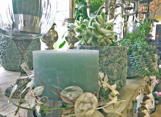 Impressionen, Blumenladen, Petite Fleur, Dekoration, grün, türkis