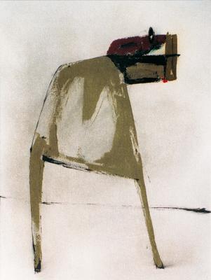 Animal blessé, encre sur papier Arches, 57x76 cm, 1995