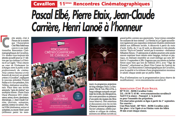 Le Journal du Luberon 16 juillet 2014