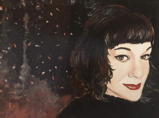 Portrait of Darla as Fire, oil on panel, 8 x 10 in., 2019