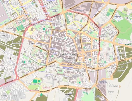 Plano urbano de Vitoria.