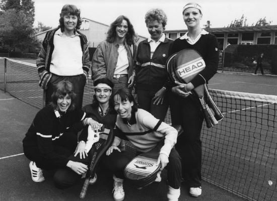 Kerstin Seelbach (2. von rechts, obere Reihe), zwischen 1970 und 1990 10mal Hessische Meisterin, 1985 Vize-Weltmeisterin Damen 40