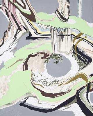 入り組んだ根っこ,2015/910×730mm/綿布にアクリル絵具、油彩、牡蠣殻/2015-2018/撮影:怡土鉄夫