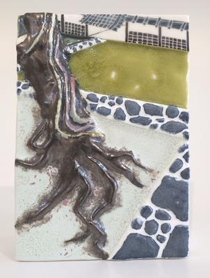 浅草寺の桜,2016/173×120mm/陶器/2018
