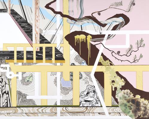 雨の妙心寺,2018/1818×2273mm/綿布に油彩、牡蠣殻、木炭/2018/撮影:怡土鉄夫