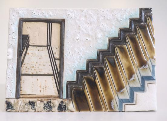 実家の階段,2018/122×174mm/陶器/2018
