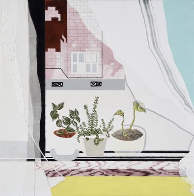 風そよぐ窓辺,2016/600×600mm/綿布にアクリル絵具、油彩、水晶、牡蠣殻/2017-2018/撮影:怡土鉄夫