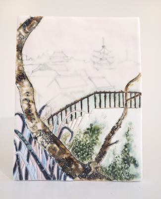 高台寺からの景色,2017/150×116mm/陶器/2018