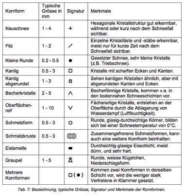 Kornformen (Quelle: SLF-Beobachterhandbuch)