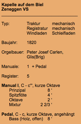 Details zur Orgel Bielkapelle Zeneggen (Quelle: Orgelverzeichnis Schweiz & Liechtenstein (http://peter-fasler.magix.net/public/VSProfile4/vs_zeneggen_biel.htm)