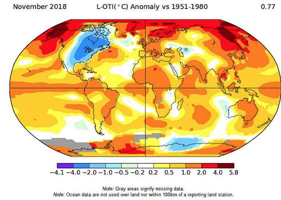 Exemplarisch für Beschleunigung der Erderwärmung: Die Abweichung der jüngsten November-Durchschnittstemperaturen verglichen mit dem langjährigen Mittelwert (1951 bis 1980).