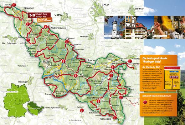 Übersichtskarte Naturpark-Route Thüringer Wald