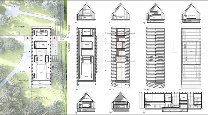 Zeichnungen in M1:200 in Grundrissen, Schnitten und dem Erdgeschossanschlüssen