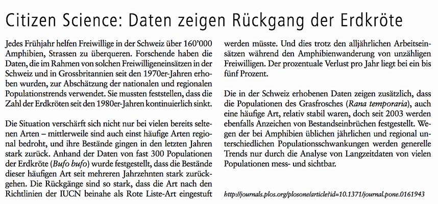 Bericht Naturwissenschaft Schweiz