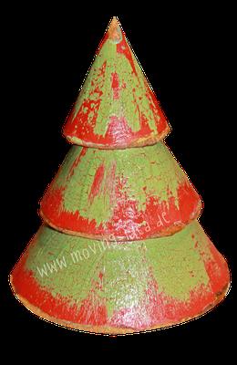 Weihnachtsbaum aus Pappmaché gestaltet