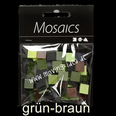 Quadratische Mosaiksteine grün-braun