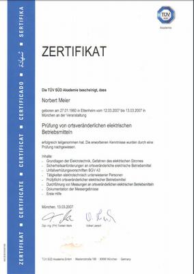 Zertifikat 13.03.2007