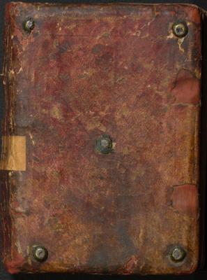 Couverture du Manuscrit de 1260 d'un manuel scolaire du scriptorium commun de Marbach-Schwartenthann actuellement au Musée Germanique de Nuremberg