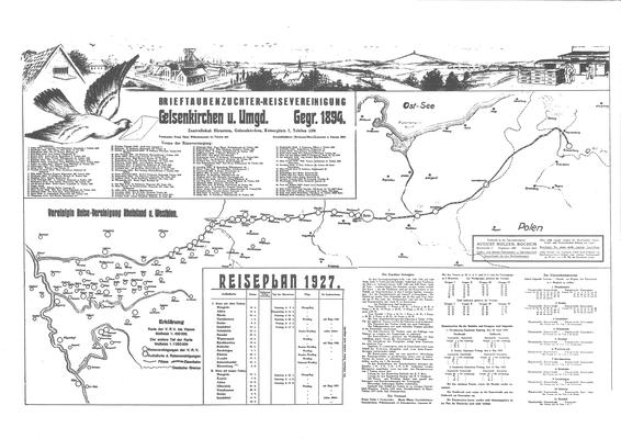 Reiseplan Reisevereinigung Gelsenkirchen u. Umg. 1927